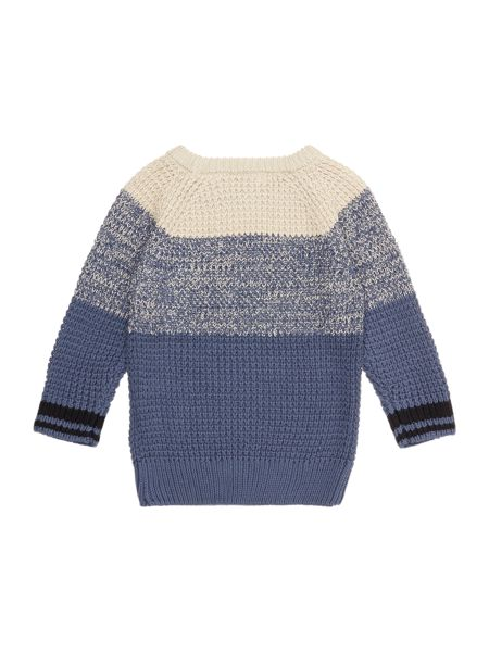 name it Boys Knitted Contrast Panel Jumper