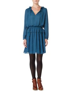 Biba Jacquard detail frill dress