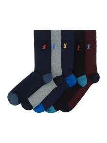 Linea 5 Pack Stag Sock
