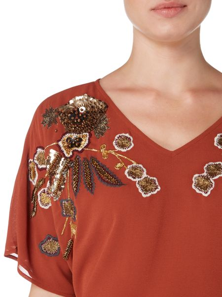 Biba Embroidered and beaded v neck blouse
