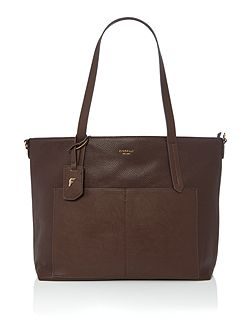 Dahlia brown large tote bag