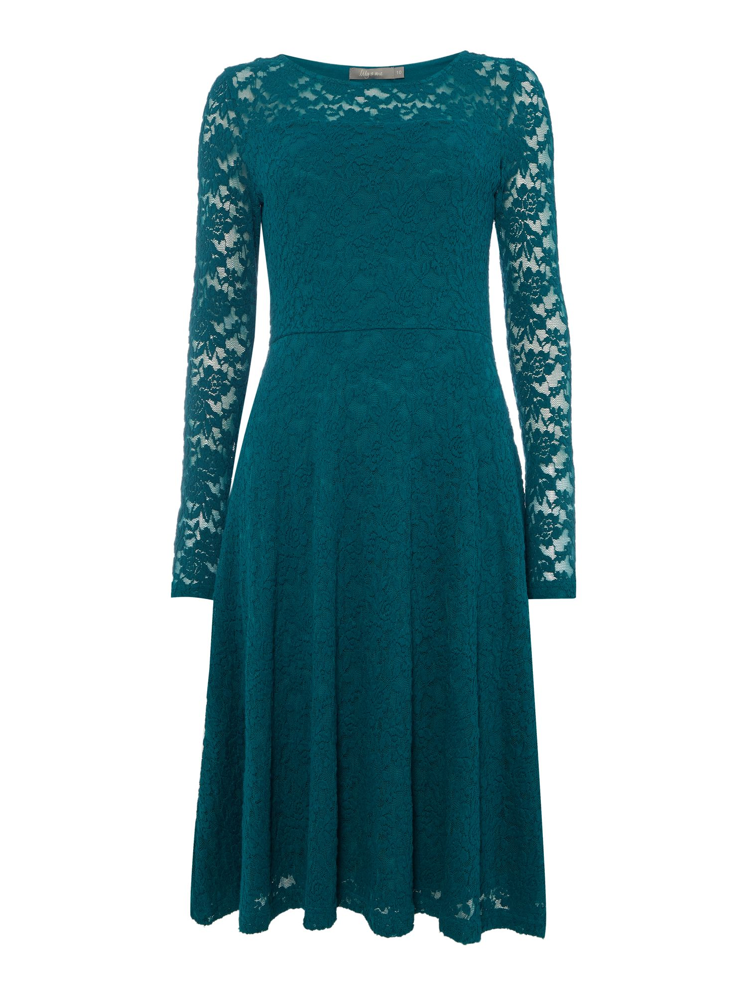 LILY & ME LILY & ME Elegant Embroidered Lace Dress, Dark Green