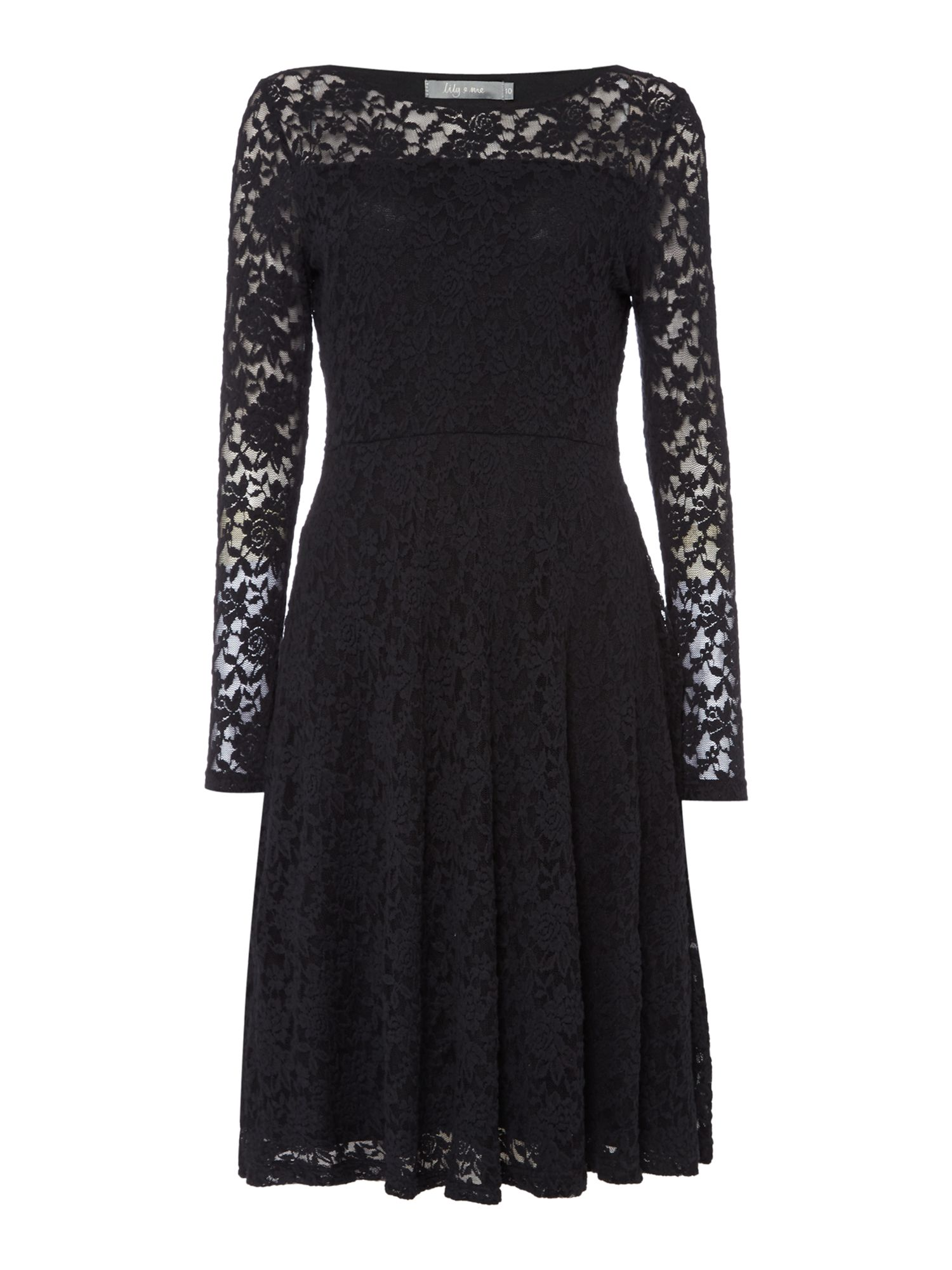LILY & ME LILY & ME Elegant Embroidered Lace Dress, Black