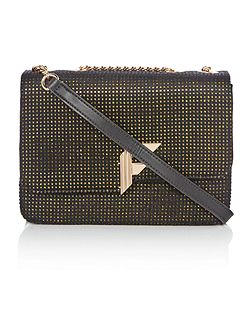 Nicole black texture flapover cross body bag