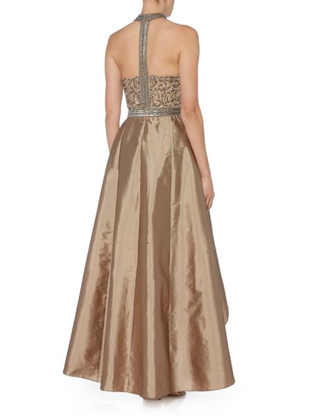 Adrianna Papell Halter neck sequin top gown
