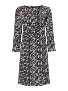 Max Mara Clipper ditsy print long sleeve shift dress