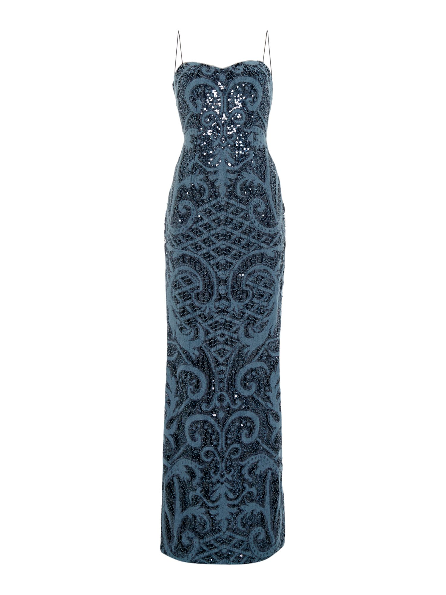 Adrianna Papell Strapless knitted sequin shift dress Blue