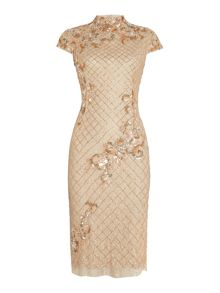 Adrianna Papell Mandarin collar all over beaded dress