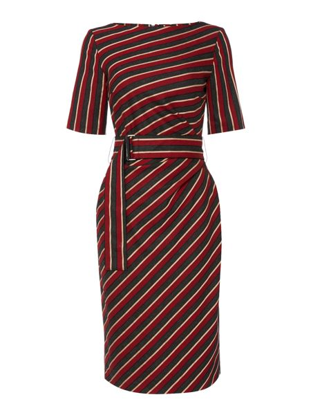 Max Mara Palato striped belted shift dress