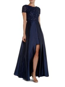 Adrianna Papell Cap sleeve sequin top gown