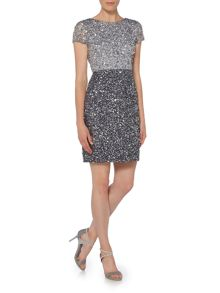Adrianna Papell Cap sleeve ombre sequin shift