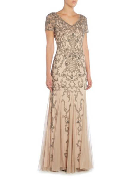 Adrianna Papell Cap sleeve beaded gown