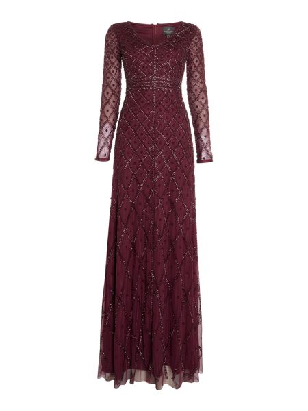 Adrianna Papell Long sleeved beaded gown