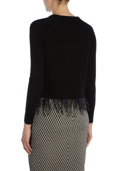 Max Mara Chicca jumper with detachable feather hem