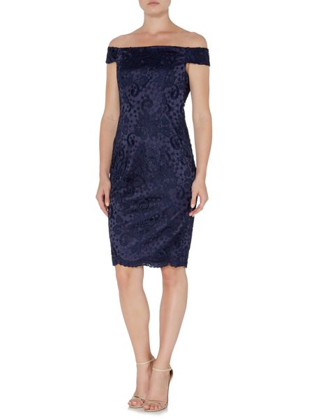 Adrianna Papell Lace cold shoulder dress