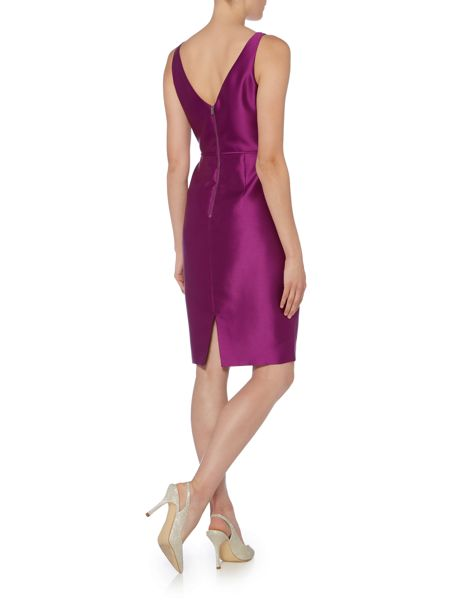 Adrianna Papell Mikado shift dress with embelished neck