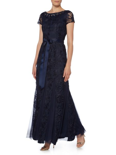 Adrianna Papell Lace gown with tulle inserts and tie belt