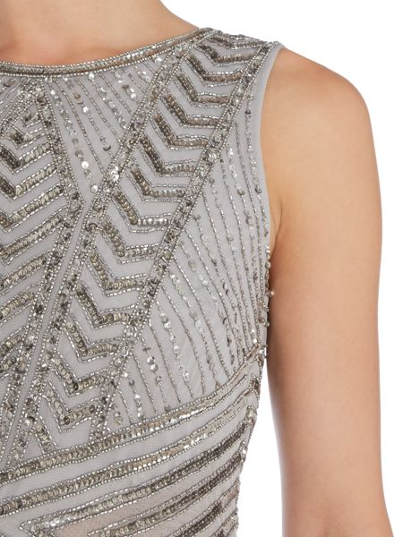 Adrianna Papell Chevron beaded gown