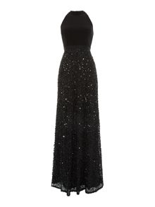 Adrianna Papell Halter neck beaded skirt gown