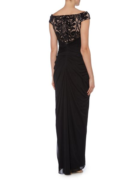 Adrianna Papell Off shoulder gown with lace top