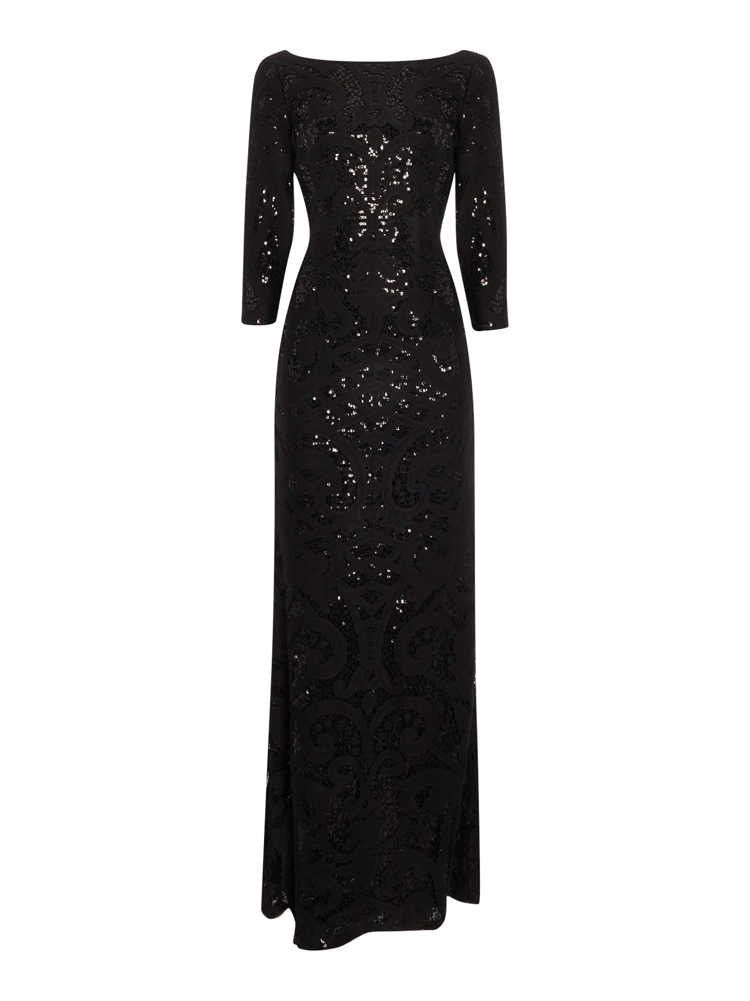Adrianna Papell Lace sequin shift dress, Black