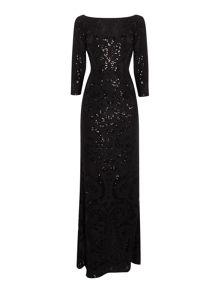 Adrianna Papell Lace sequin shift dress
