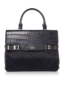 Grace black croc small tote crossbody bag