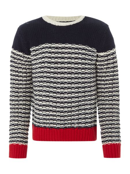 Howick Junior Boys Contrast Crew Neck Chunky Jumper