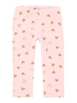 Girls Foil Heart all over print leggings