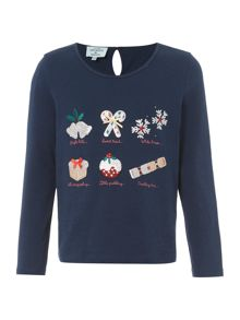 Little Dickins & Jones Girls Festive Graphic T-shirt