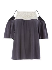 Vero Moda Cutout Embroidered Detail Top