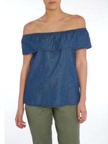 Vero Moda Off The Shoulder Denim Top