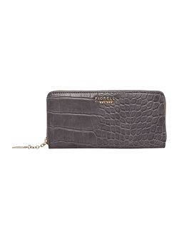 City grey croc zip around purse