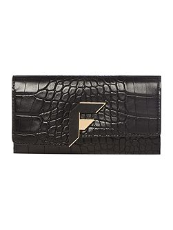 Brompton black croc medium flap over purse