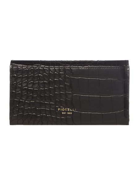 Fiorelli Brompton black croc medium flap over purse
