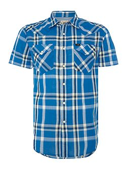 Slim fit short sleeve western check shirt