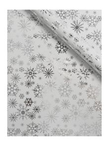 Linea White and silver snowflake 3m wrapping paper