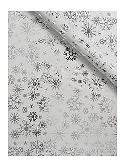 White and silver snowflake 3m wrapping paper