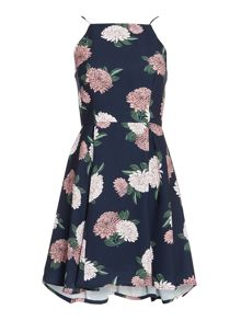 Keepsake Sleeveless Square Neck Floral Chiffon Dress