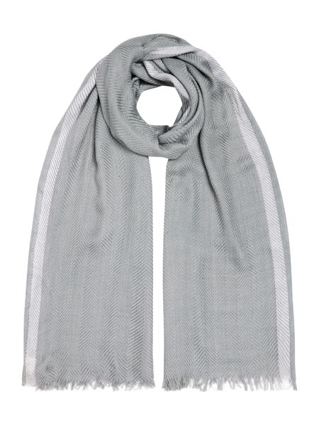Gray & Willow Textured Plain with Stripe Border Scarf