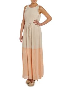 Vila Sleeveless Pleated Two Tone Maxi Dress