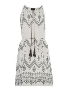 Vila Sleeveless Tie Waist Print Dress