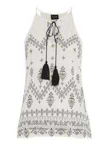 Vila Sleeveless Tassle Detail Top