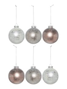 Linea Set of 6 glass glitter stripe baubles