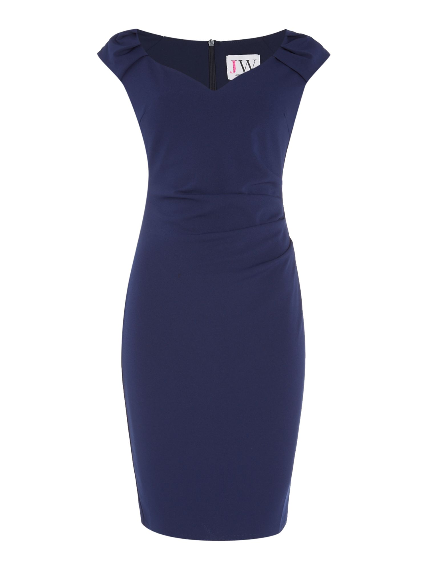 Jessica Wright Off Shoulder Gathered Waist Bodycon Dress, Blue