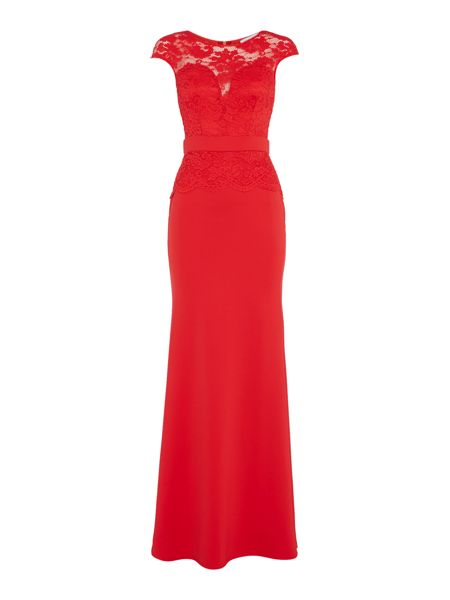 Jessica Wright Cap Sleeve Lace Maxi Dress