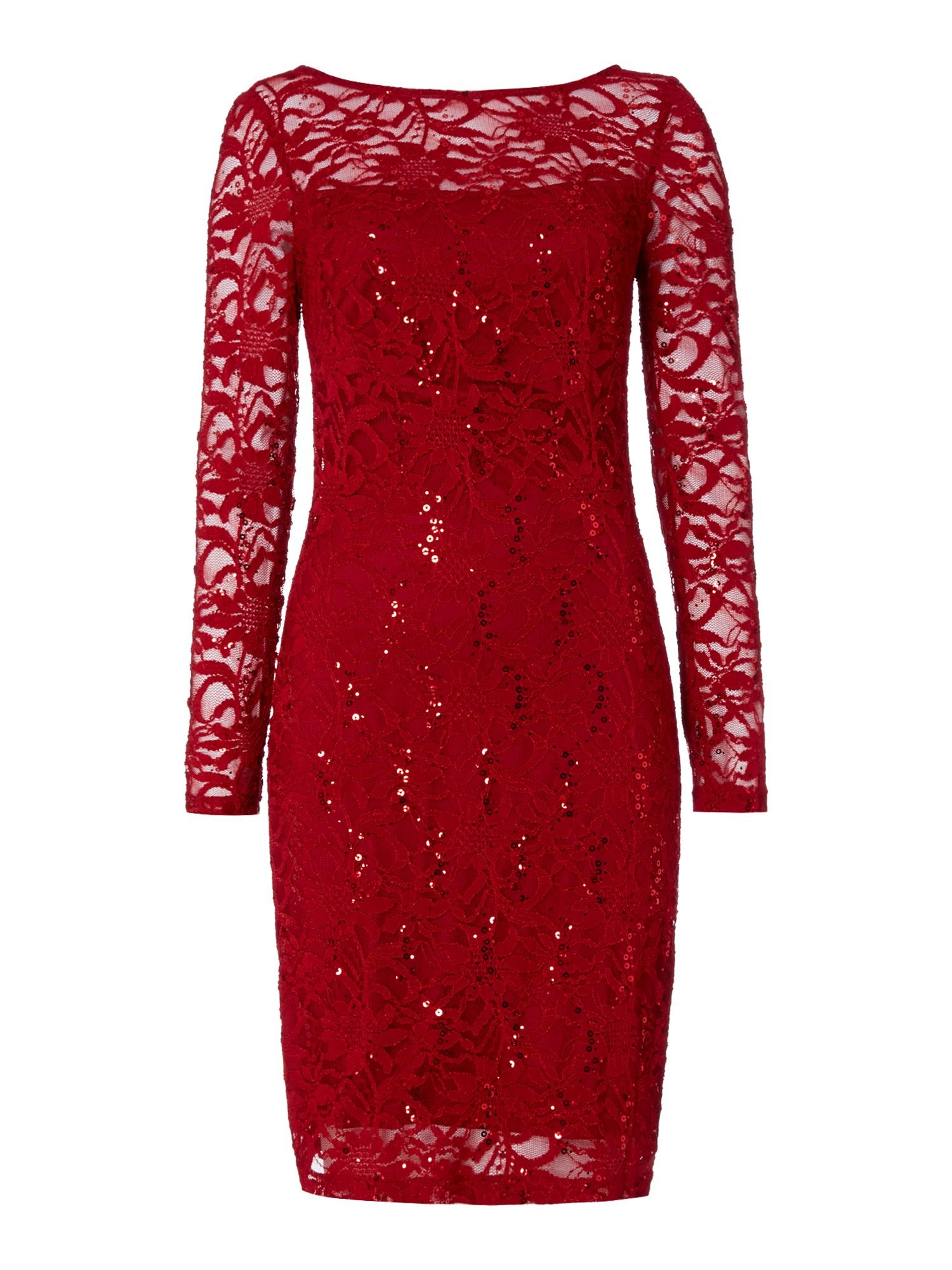 JS Collections Long sleeve dress with sequin lace, Red