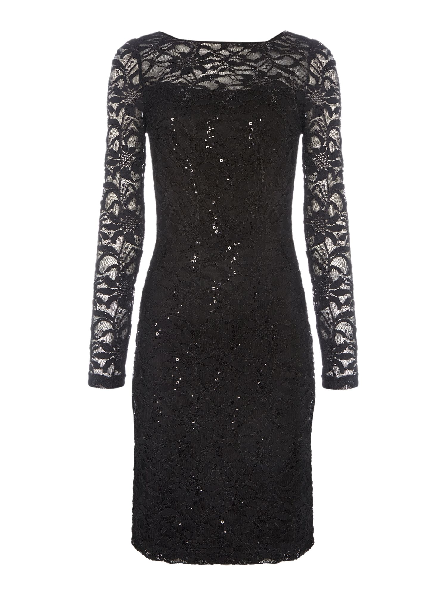 JS Collections Long sleeve dress with sequin lace, Black