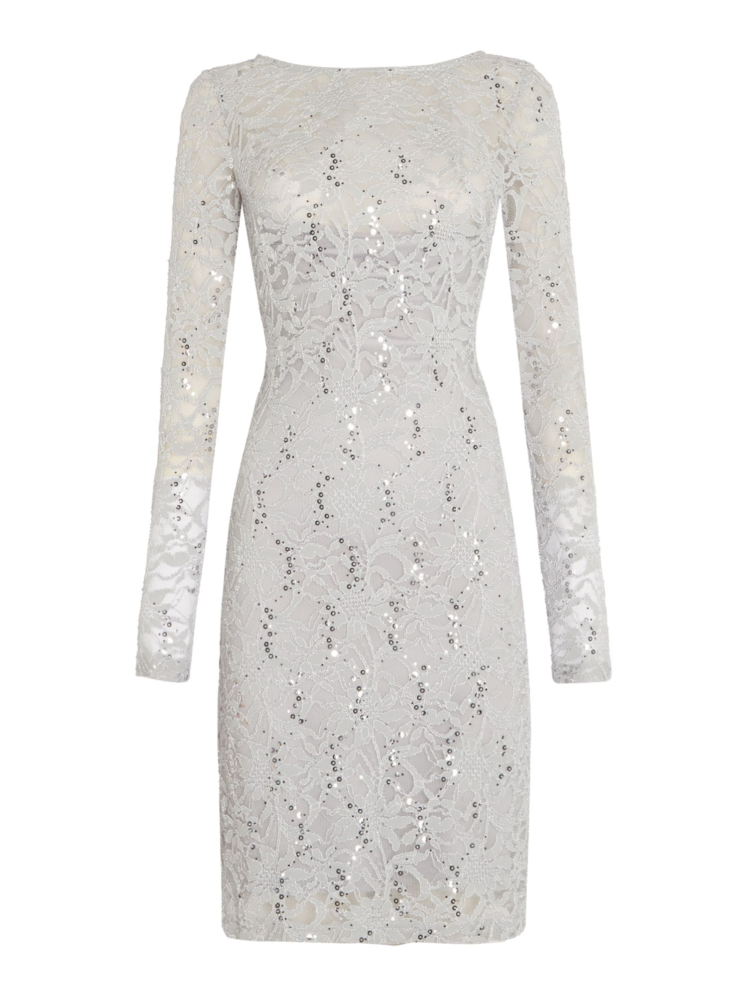 Js Collections JS Collections Long sleeve dress with sequin lace, Silver