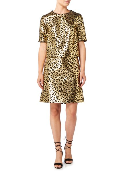 Biba Biba gold real suede printed skirt